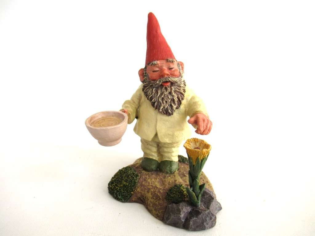 UpperDutch:Gnomes,Classic Gnomes 'Michael' Gnome figurine after a design by Rien Poortvliet, Gnome with Flower.