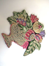 UpperDutch:Sewing Supplies,Antique Applique, flower basket applique, 1930s vintage embroidered applique. Sewing supply.