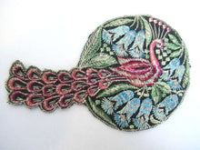 UpperDutch:Sewing Supplies,Peacock Applique, 1930s Vintage Embroidered Peacock applique, application. Sewing supply.