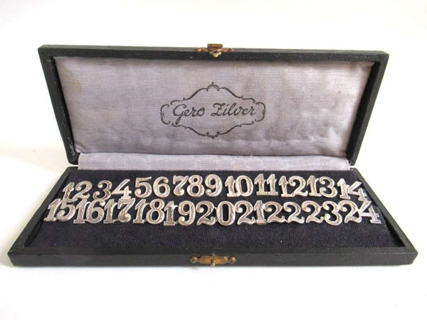 UpperDutch:Numbers,Antique Silver Plated Gero Table Numbers, Gero Silver, Wine Glass Markers, Drink markers.