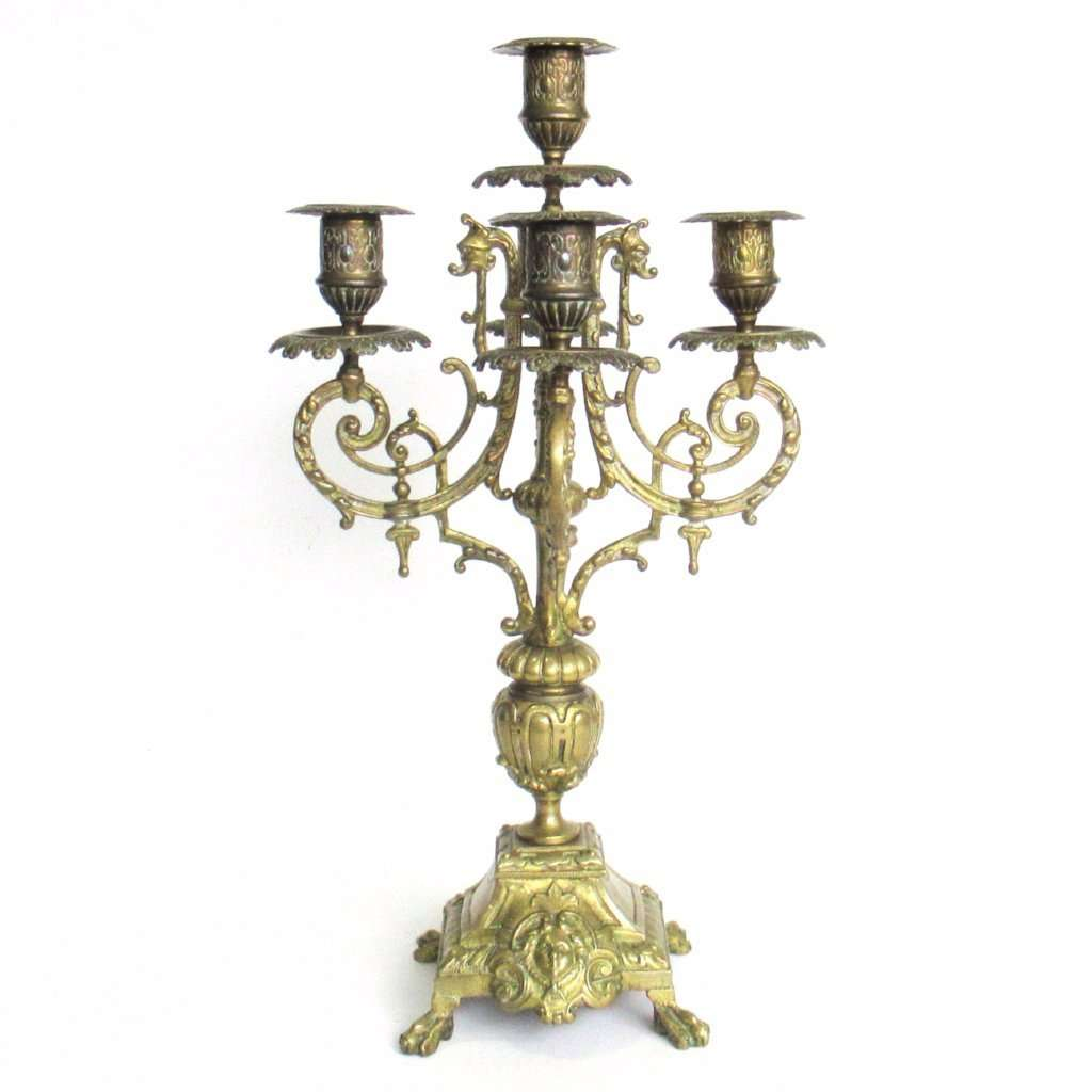 UpperDutch:Candelabras,Antique 5-arm candle holder. Antique Solid Brass 5 arm Candelabra with Griffins / Dragons.