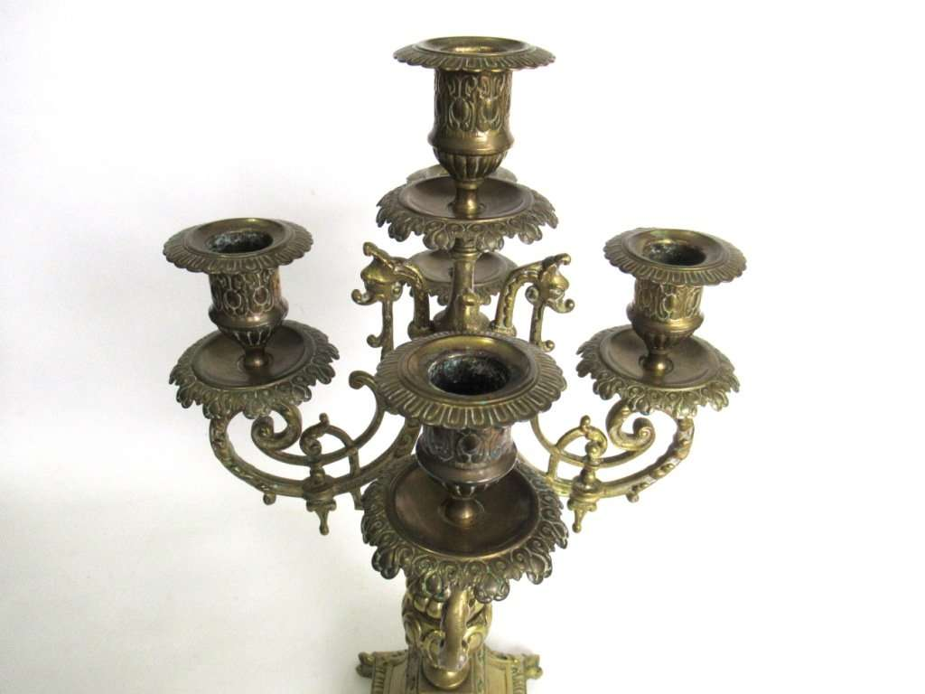 Antique 5 Arm Candle Holder Antique Solid Brass 5 Arm