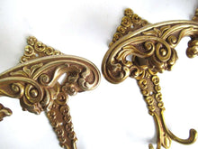 UpperDutch:Hooks and Hardware,Set of 3 Antique Coat hooks, Wall hooks, Solid Brass Ornate Victorian style hooks, made in Italy.