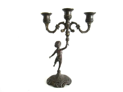 UpperDutch:Candelabras,Putti Candle Holder. Brass Plated Candle holder. Cherub, Putti. French home decor.