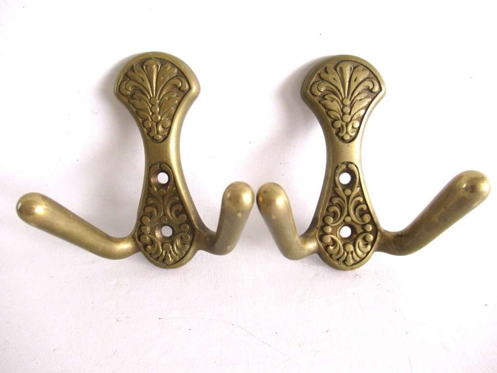 2 Antique Victorian Brass Coat Hooks More Available