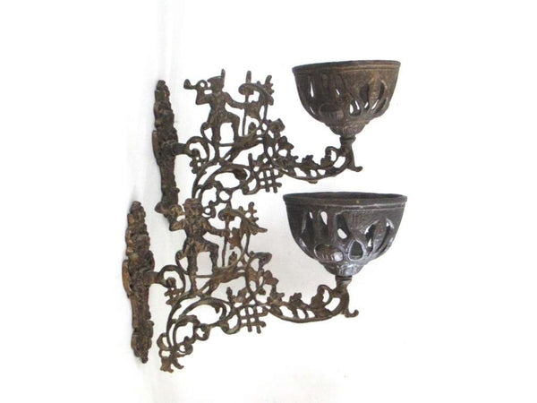 UpperDutch:Candelabras,Set of 2 Antique Oil Lamp Holder with Bracket, Haunting scene, Wall Mount Sconce, Wall Sconce. Antique decor, candle holder
