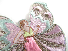 UpperDutch:Applique,Rare Antique Fairy Applique 1930s, Flapper girl, Silk on Cotton, butterfly, patch.