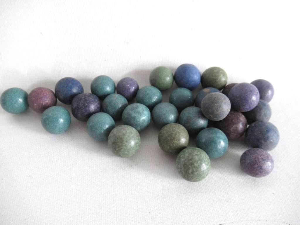 UpperDutch:,Clay Marbles, Set of 30 Antique Clay Marbles, Antique marbles.