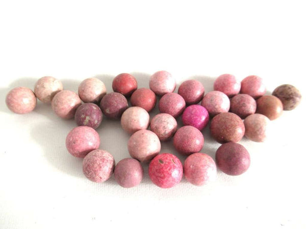 UpperDutch:Marbles,Set of 30 Pink Antique Clay Marbles.