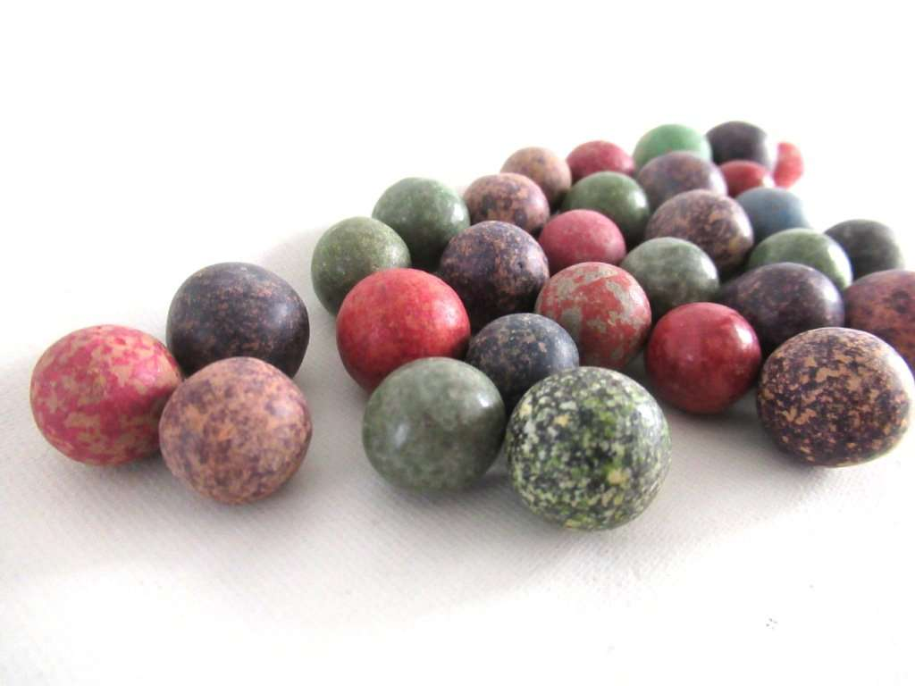 UpperDutch:,Set of 30 Antique Clay Marbles.