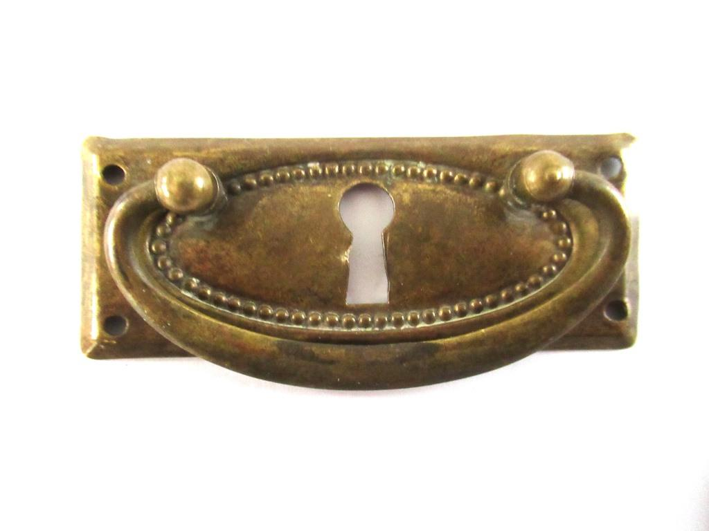 Antique Brass Door Furniture Drawer Key Hole Cover Plate Escutcheon  A2017
