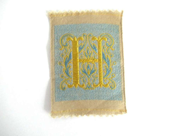 UpperDutch:Sewing Supplies,Letter H monogram Applique,  1930s Vintage Embroidered applique. Alphabet letter H Monogram application, antique letter.