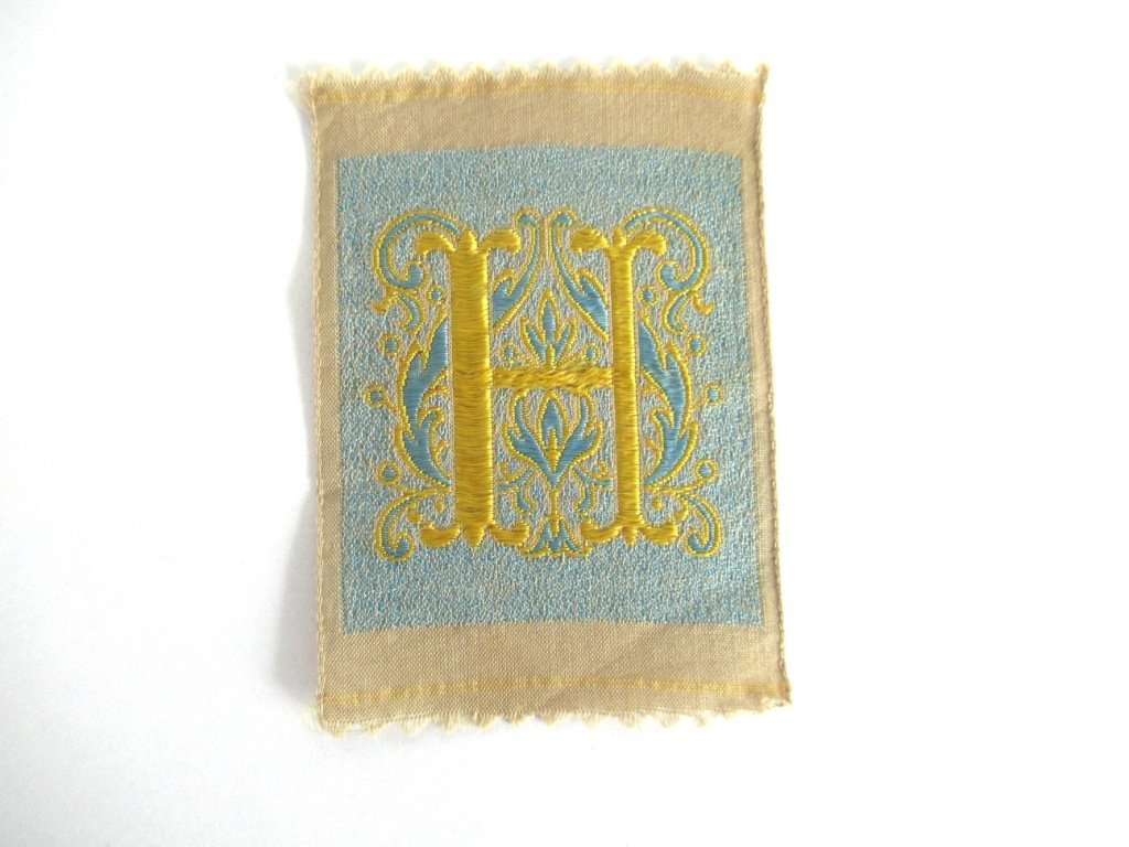 UpperDutch:,Letter H monogram Applique,  1930s Vintage Embroidered applique. Alphabet letter H Monogram application, antique letter.