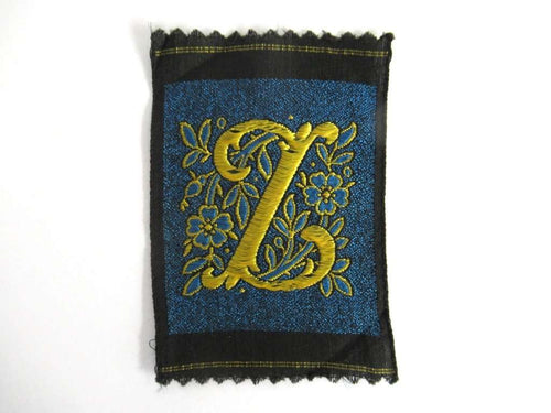 UpperDutch:Sewing Supplies,Monogram Z Applique, 1930s Vintage Embroidered 'Letter Z' applique. Alphabet Monogram application, antique letter.
