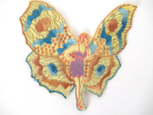 UpperDutch:Applique,Rare Antique Fairy Applique 1930s, Flapper girl, Silk on Cotton, butterfly.