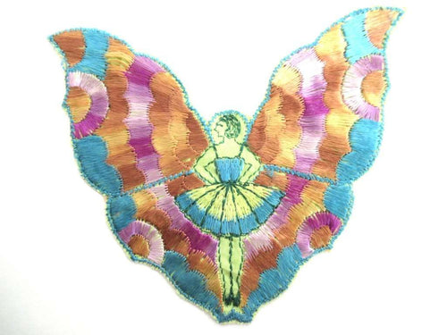 UpperDutch:Sewing Supplies,Fairy Applique, butterfly applique, 1930s embroidered applique. Vintage patch, sewing supply, crazy quilt, antique.