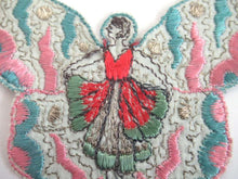 UpperDutch:,Fairy, butterfly applique, 1930s embroidered applique. Vintage patch, sewing supply, crazy quilt, antique.