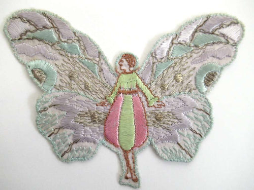 UpperDutch:Sewing Supplies,Fairy, butterfly applique, 1930s embroidered applique. Vintage patch, sewing supply, crazy quilt, antique.