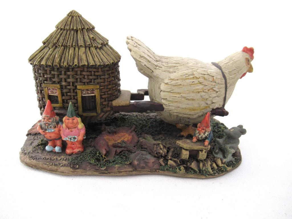 UpperDutch:Gnome,'The Sunshine Family' Gnome family with chicken camper figurine. Part of the 2000 Classic Gnomes Villages series designed by Rien Poortvliet