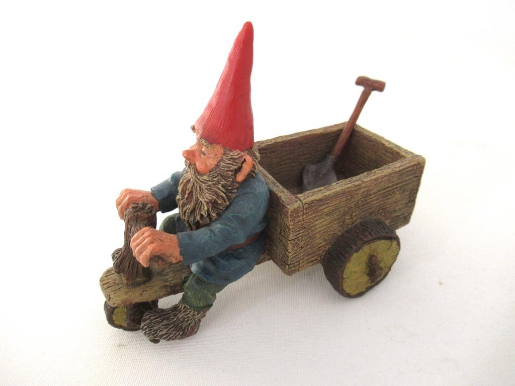 UpperDutch:Gnome,Gnome 'Thomas' riding a cargo bike with shovel. Gnome figurine after a design by Rien Poortvliet. Classic Gnomes series. AAAAAAA International Co. Ltd.