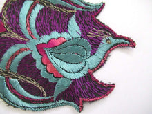 UpperDutch:,Flower applique 1930s Vintage floral patch, lotus flower with peacock, sewing supply.