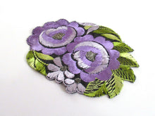 UpperDutch:,Silk Purple Flower applique, 1930s Vintage floral patch Sewing supply