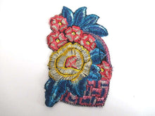 UpperDutch:,Silk Flower Basket Applique 1930s Vintage Embroidery Floral Patch Sewing Supply.