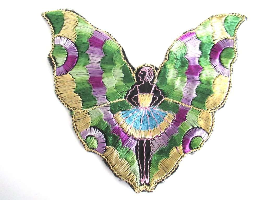 UpperDutch:,Fairy Butterfly Silk Applique 1930s Embroidery Vintage Patch Sewing supply.