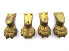 UpperDutch:Lion paw,Set of 4 small Thin Brass Lion Paws, Stamped Antique Claws, Feet, Cabinet Hardware, Foot.