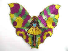 UpperDutch:,Silk Fairy Butterfly Applique 1930s Embroidery Vintage Patch Sewing supply