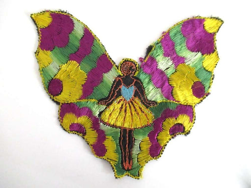 UpperDutch:Sewing Supplies,Silk Fairy Butterfly Applique 1930s Embroidery Vintage Patch Sewing supply