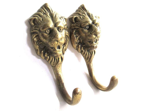 UpperDutch:Wall hook,Set of 2 Solid Brass Lion Head Coat hooks Wall hooks.