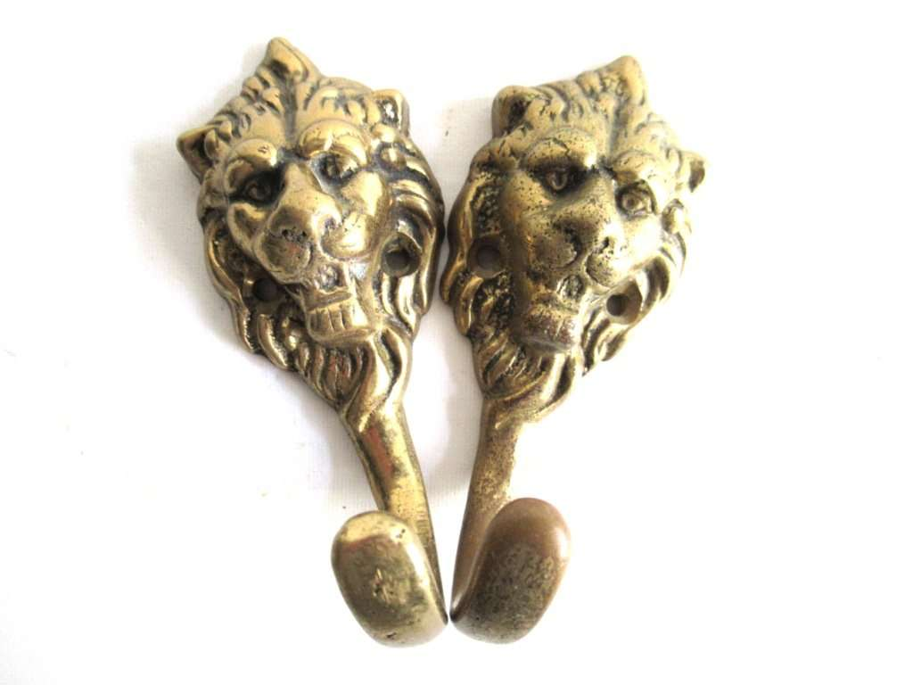 UpperDutch:,Set of 2 Antique Brass Lion Head Coat hooks Wall hooks.
