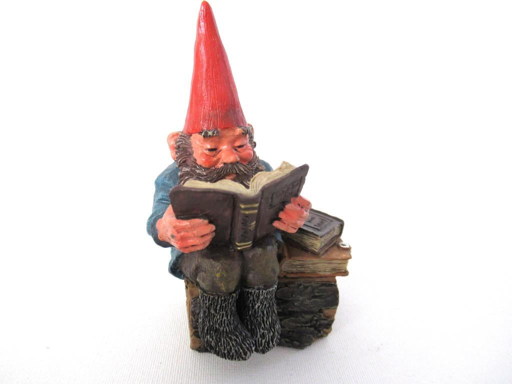 UpperDutch:Gnome,'Gideon' Reading Gnome figurine. Classic gnomes series Designed by Rien Poortvliet.