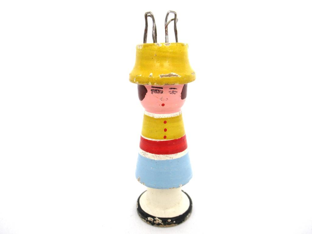 Knitting Nancy, Vintage Wooden Knitting Doll, French Knitting, Bobbin Doll, Sewing supply, french knitter.
