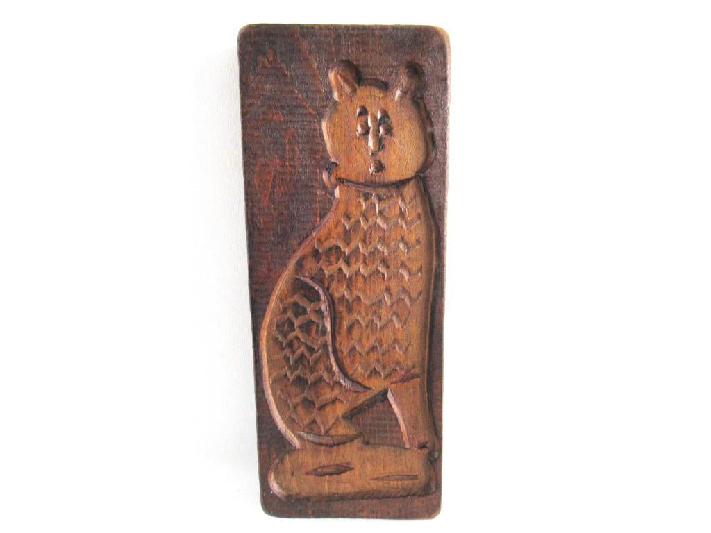 Wooden cookie mold Cat. Wooden Dutch Folk Art Cookie Mold. Speculaas plank.