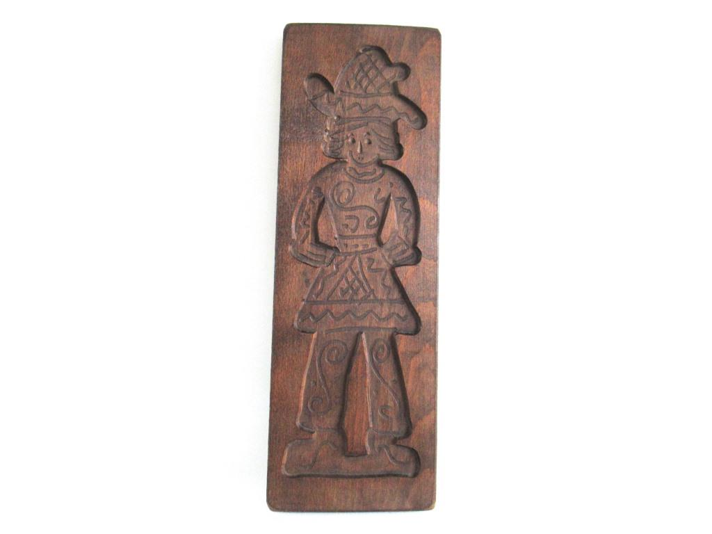 Wooden Dutch Folk Art Cookie Mold. Antique Bakery decoration. Wood carved man from Holland. Spiced cookie springerle wall decor.