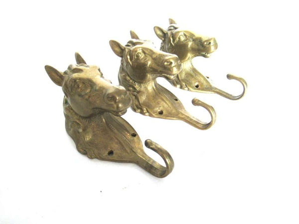 UpperDutch:,Set of 3 pcs Solid Brass Horse Head Wall hooks, Coat hooks, Hanger, horse head.