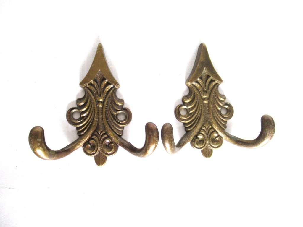 UpperDutch:,Set of 2 Small Wall hooks, Antique Coat hook, Towel hook, Kitchen hook, Solid brass.
