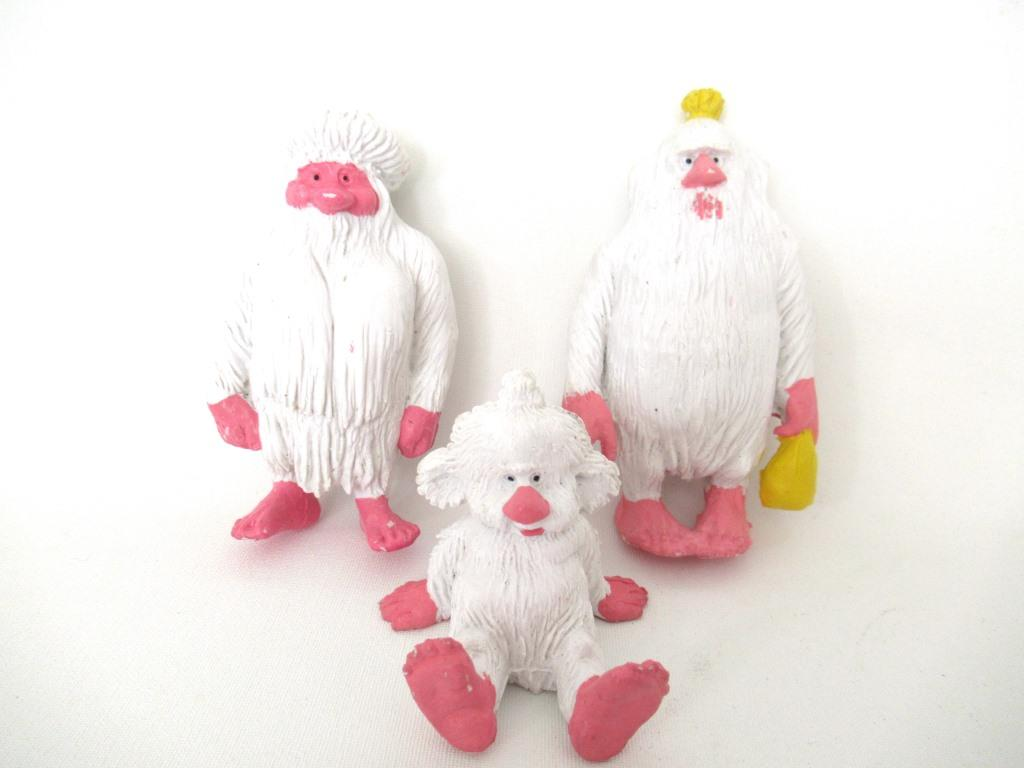White Yeti, Set of 3, Startoys, Troll, Vintage BRB Yeti, 1980s, David the Gnome, figurine, Snowman.