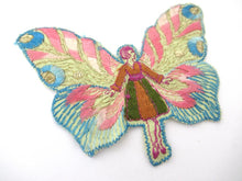 Rare Antique Fairy Applique 1930s, Flapper girl, Silk on Cotton, butterfly, patch.