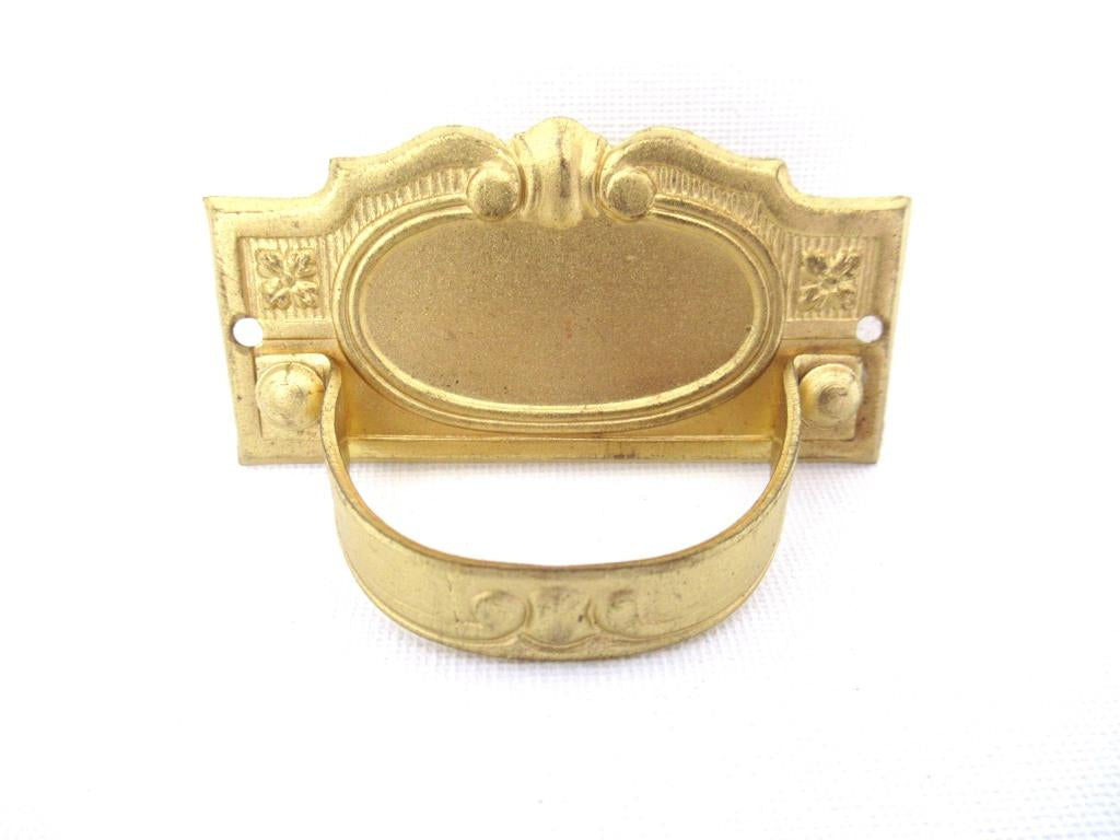 1 (ONE) Vintage Brass Drawer Handle, Escutcheon, keyhole cover.