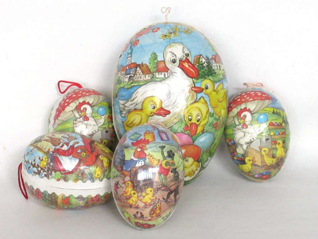 Easter Egg Candy Container German Turquoise Paper Mache Angel Scrap