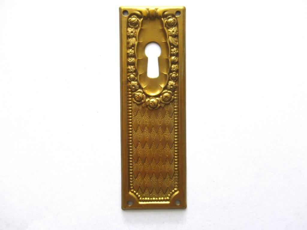 1 (ONE) Keyhole cover, Brass Stamped Floral Escutcheon, keyhole plate, with roses.