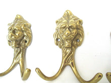 Set of 3 Brass Lion Head Coat hooks, Solid Brass.