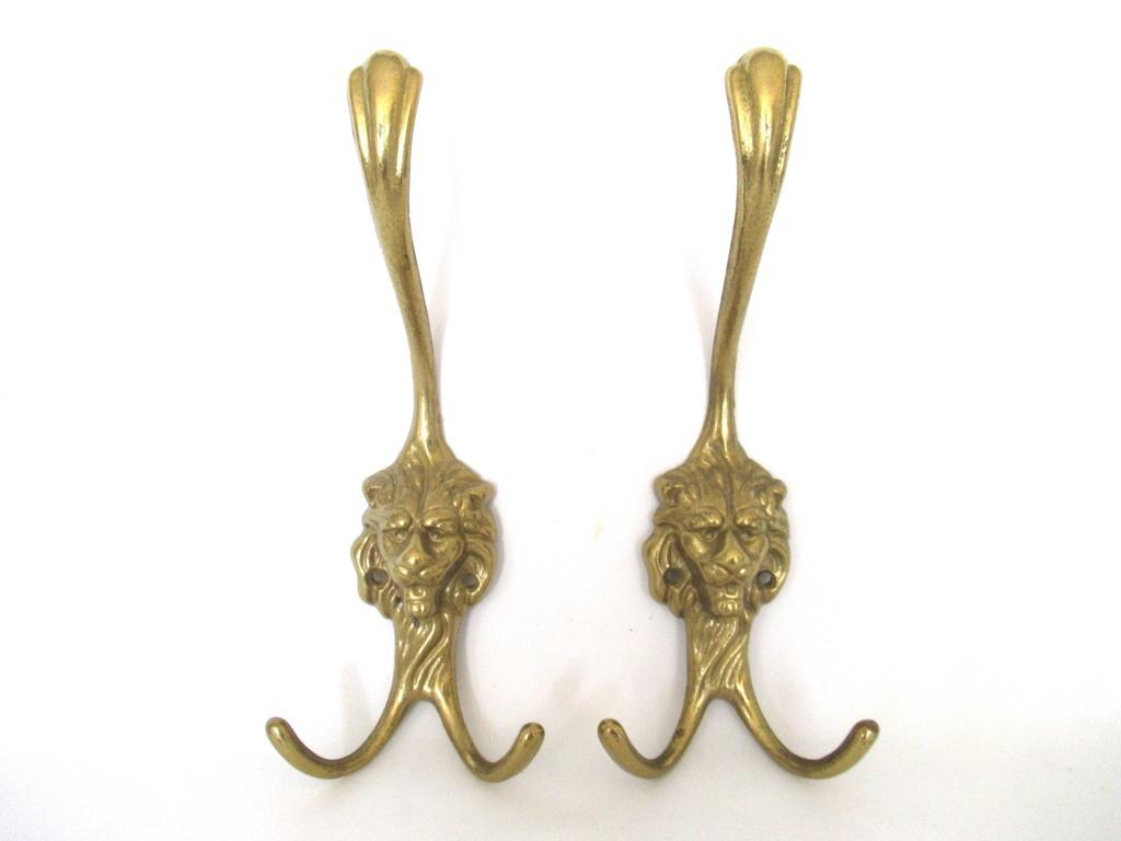 Brass Lion Head Coat hooks, Set of 2 Wall hooks, lion hooks, Solid Brass.