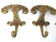 Set of 3 pcs Solid Brass Ornate Wall hook, Coat hook, Victorian Style hook made in Italy, Coat rack supply, storage supply.
