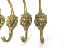 Set of 4 Lion hooks Solid Brass Lion Head Wall hook - Coat hooks. Decorative animal storage solution, coat hangers.