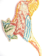Applique, 1930s Vintage Embroidered Bird applique, patch. Vintage patch, sewing supply. Crazy Quilt.