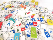 400+ pcs mixed letter tiles, lot letter mix, game pieces. Assortment scrapbook letters, alphabet mix, word art supply.